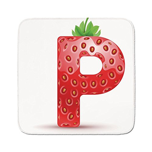 Cozy Seat Protector Pads Cushion Area Rug Letter P Healthy Living Themed Alphabet Capital P Sweet Vegetarian Vegan Food Vermilion Green Orange Easy To Use On Any Surface
