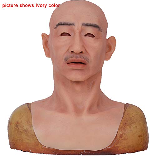 Realistic Silicone Crease Male Face Mask Halloween Costume Party Latex Full Head Mask for Crossdresser Cosplayer Transvestite in Crossdressing Party Masquerade]()