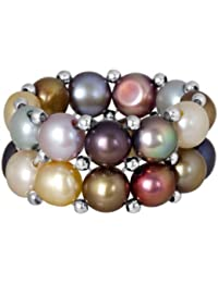 Beautiful Silver Plated Beads and Multi-color Cultured Freshwater Pearl Stretch Ring
