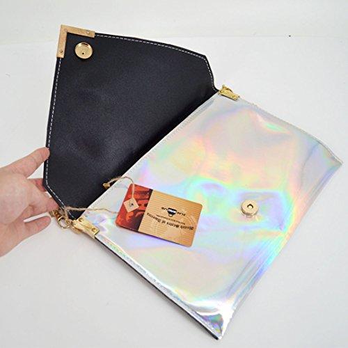 ZLMBAGUS Shoulder Clutch Crossbody PVC Silver Handbag Girl Envelope Bag Women Hologram Chain Laser Purse rx1rvA