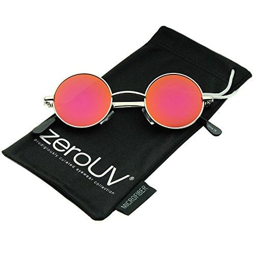 Lennon Style Sunglasses - Small Retro Lennon Style Colored Mirror Lens Round Metal Sunglasses 41mm (Silver/Magenta-Orange Mirror)