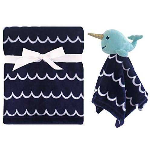 Hudson Baby Unisex Baby Plush Blanket with Security Blanket, Boy Narwhal 2 Piece, One Size (Narwhal Baby Shower)
