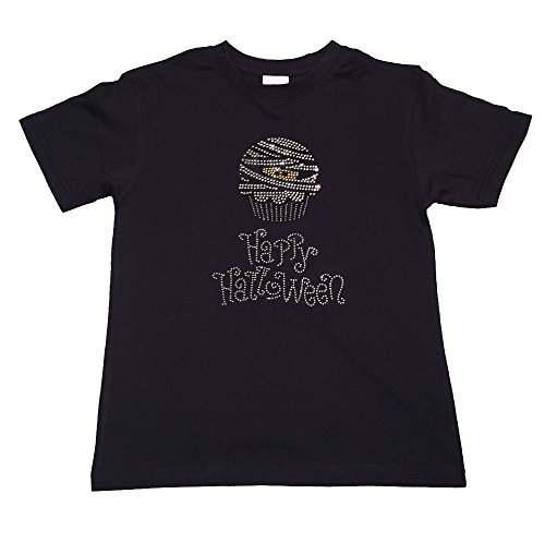 Girl's Fashion T-shirt with Mummy Cupcake with Happy Halloween in Rhinestones (9/11, Black Short Sleeve)