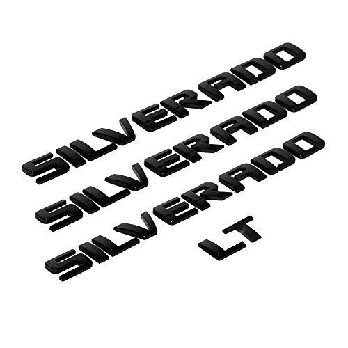 3D 제기 강한 접착제 데칼 편지 배지 맞는 SILVERADO LT1500 2500HD3500HD-광택 블랙