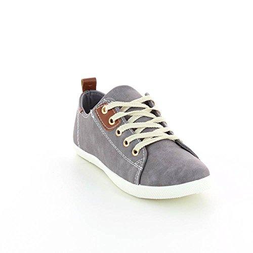 Zapatillas bajas piel sintética, cierre con cordones. Gris - gris