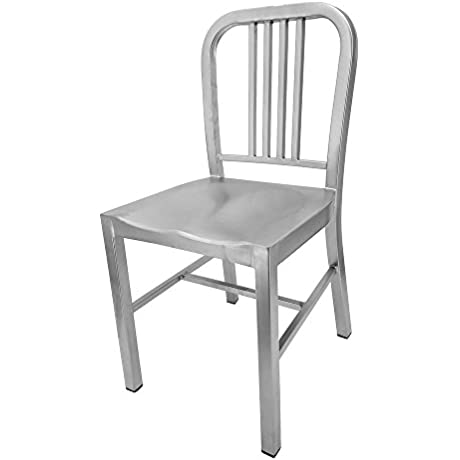 Navy Contemporary Steel Dining Chair Matte Silver