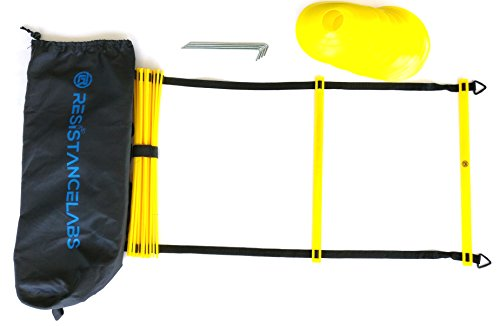 Resistancelabs 12 Rung (15 ft) Speed Agility Ladder Combo with 10 Agility Cones, Bonus Carrying Bag, and 4 Metal Spikes