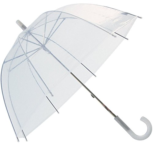 Swaroser Womens' and Kids' Clear Totes Bubble Dome Shaped Rain Umbrella White Clear