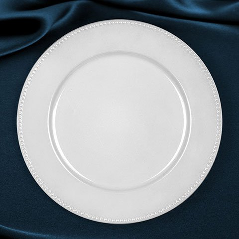 Pearlized White Plastic Charger Plates with Beaded Rims, 13'' Set of 4 by Greenbrier International, Inc.