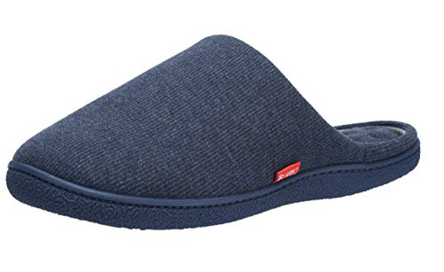 Aelph Mens Womens House Cotton Flat Slippers Breathable Non-Slip for Indoor Outdoor Use. Navy/9-10 US Women's=7-8 US Men's (Best Indoor Family Dog)