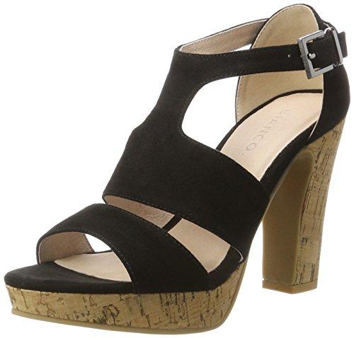 Sandalo Doppia Fibbia Bianco Damen 20-49201 Plateausandalen Schwarz (nero)