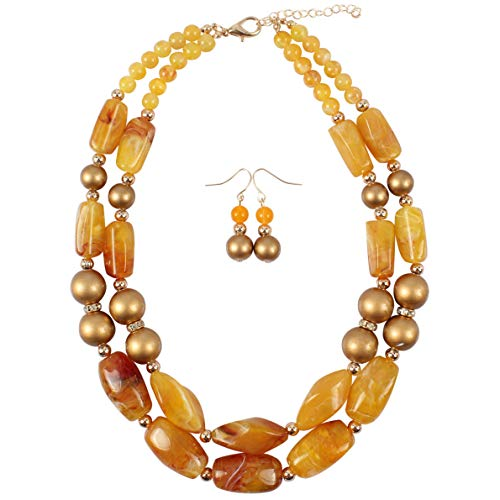 HaHaGirl Faux Amber Beads 2 Layer Statement Chunky Beaded Fashion Necklace for Women
