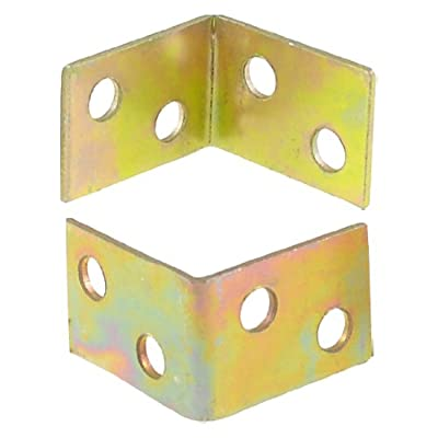 uxcell Shelf Door 25mm x 16mm x 25mm 90 Degree 4 Holes Corner Brackets Brass Tone 2 Pcs