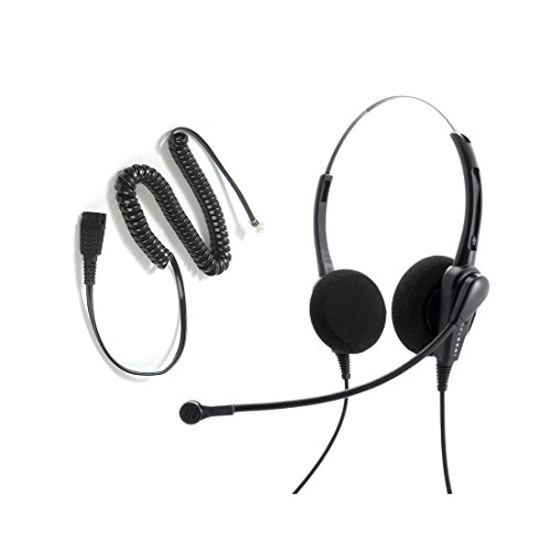 Avaya Nortel phone 1140e, 3903, M3904, NT8B30, NT8B40 Headset and Adapter Package - Cost Effective Customer Service Binaural headset + RJ9 Headset Cord (Headset For Customer Service compare prices)