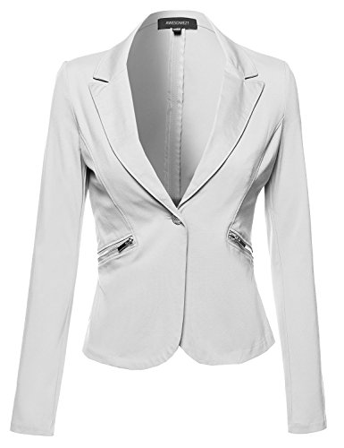 Blazer+with+Embellished+Button+and+Zipper+Pockets+Offwhite+Size+L