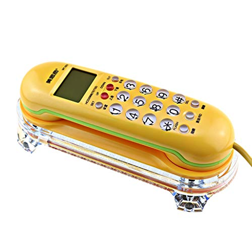 DNSJB phone Home Hotel Wall-Mounted Telephone Landline Machine Creative Cute Caller ID Hotel Small Extension Personality Wired Telephone Landline Number Decorative Phone (Color : Yellow)