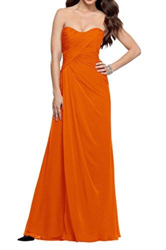 La_Marie Braut Chiffon Einfach Brautjungfernkleider Festlich Damen Formale Partykleider Bodenlang Schmaler Schnitt Orange KsXXz7