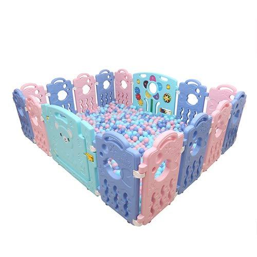 HYRL Garde d'enfant de Jeu de bébé de clôture, barrière de bébé Jeux Baby Bar barrière de sécurité de la Maison Aire de Jeux de sécurité (14 Petits Morceaux + 1 Barre de Porte + 1