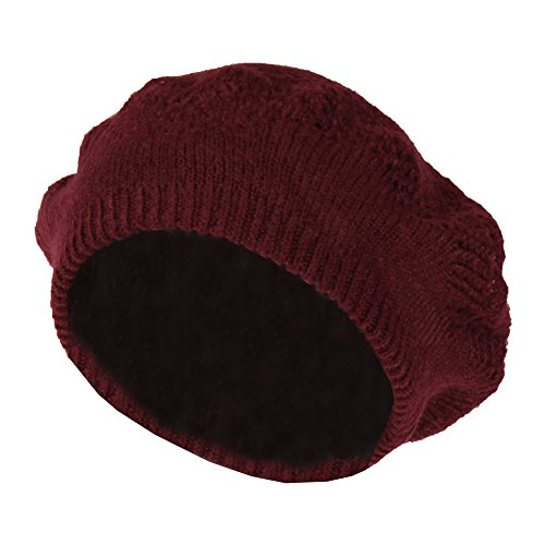 Wine Red Winter Knit Pointelle Lace Beret Hat, Classic Slouchy Beanie Cap