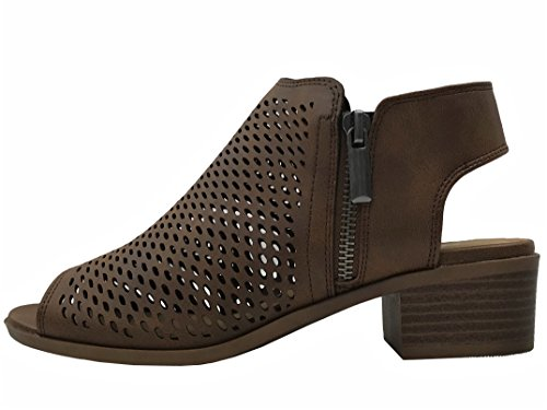 Picture of Open Toe Ankle Strap Bootie Sandal Low Heel Perforated Cutout, Lt Brown, 8