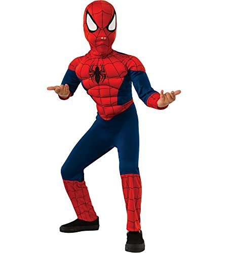 Spider Man Deluxe Boys Child Kids Youth Muscle Chest Costume (L)