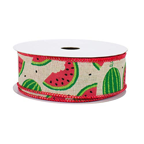 Watermelon Pattern Natural Wired Ribbon - 1 1/2