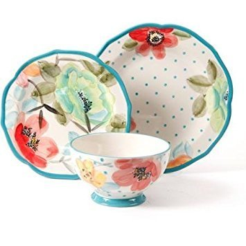 Colorful Floral Design with Turquoise Accents Dinnerware Set, 12-Piece by The Pioneer Woman (Image #1)