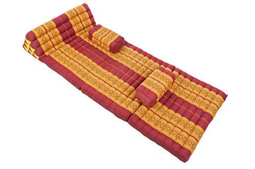 Thaicushion set Set XXXL: Thai Cushions and Pillows in Thai Traditional Design, Burgundy, 3 Pieces by Handelsturm