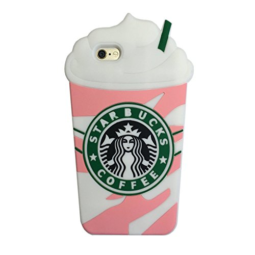 iPhone 6 Case, iPhone 6s Case, iPhone6 Regular, Soft Silicone Rubberized Material, 3D Cartoon Design, Cool Fun Luxury Designer Fashion Style, Gift for Men Girls (Pink White Frappuccinos)