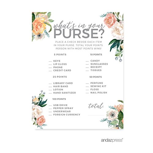 Andaz Press Peach Coral Floral Garden Party Wedding Collection, What's in Your Purse? Bridal Shower Game Cards, 20-Pack