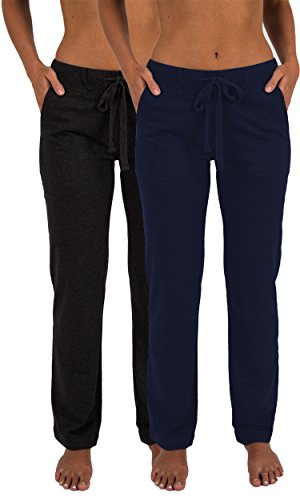 (Sexy Basics Women's 2 Pack Ultra Soft French Terry Cotton Drawstring Yoga Lounge Long Pants (2 Pack- Navy & Charcoal, 2X-Large))