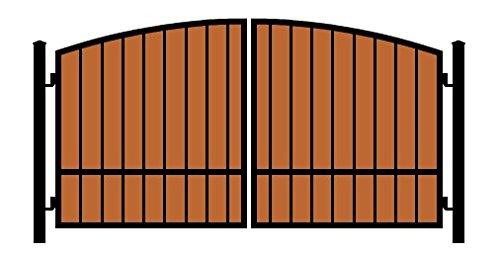 StandardGates Metal Wood Security Gates - Wrought Iron Wooden Driveway Gate Kit - Black Arch Redwood ()