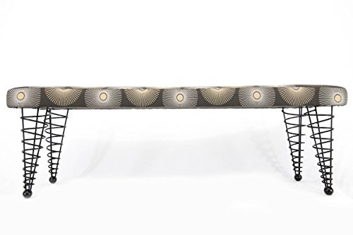 Modern Upholstered Bench from Spiral Cone Legs, up to 8-feet in length!
