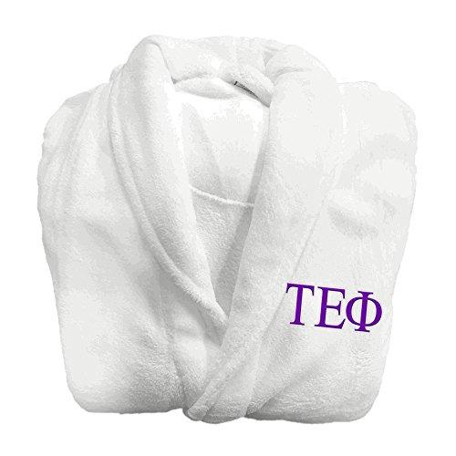 (Greekgear Tau Epsilon Phi Fraternity Lettered Bathrobe White)