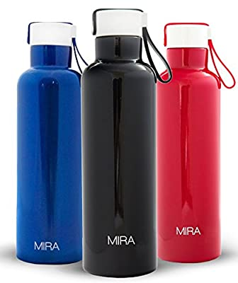 MIRA Vacuum Insulated Travel Water Bottle | Leak-proof Double Walled Stainless Steel Sports Water Bottle | Easy to Carry Handle Strap Lid | No Sweating, Keeps Your Drink Hot & Cold | 17 Oz (500 ml)