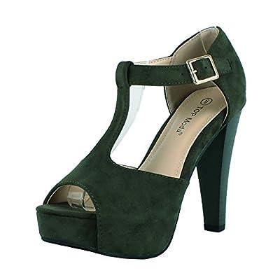 Top Moda Tingo-15 Platform Boots, Olive Green Suede, 7