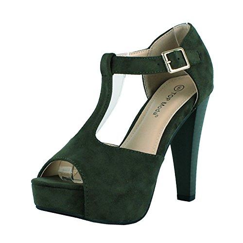Top Moda Tingo-15 Platform Boots, Olive Green Suede, (Platform Shoes For Men)