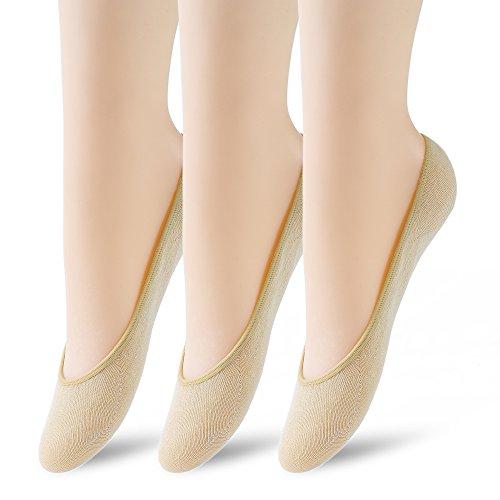 3 Pairs No Show Socks Women No Show Liner Socks Womens No Show Socks Thin Low Cut Casual Socks Non Slip(Nude 3pack)