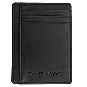 ZAHIT AKINCI Top Quality Best Slim RFID Blocking Black Leather Front Pocket Wallet