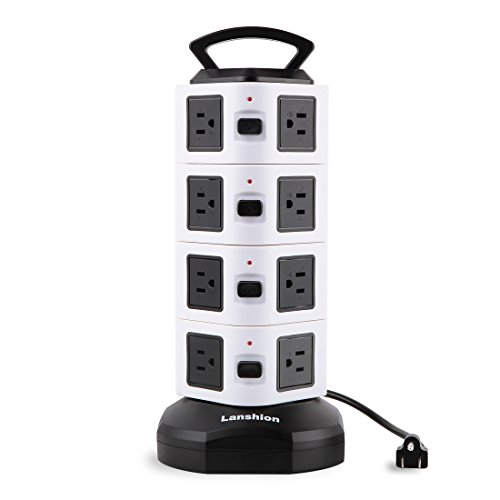 Lanshion 16 Outlet Vertical Surge Overload Protector Handle Power Strip for Electronic Device - 9.8 Feet Cable