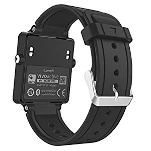MoKo Garmin Vivoactive Smartwatch Bracelet, Replacement WatchBand Wristband en Silicone souple avec fermoir métallique pour Garmin Vivoactive / Vivoactive Acetate Sports GPS Smart Watch, Noir