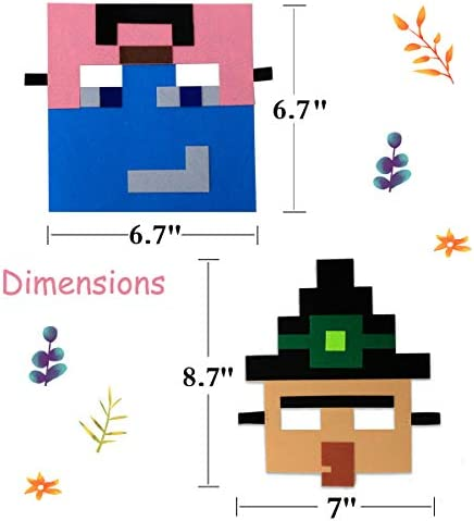 UJGTAR Replacement for Miner Pixel Masks Party Favors Supplies for Kids (12 Packs) Felt and Elastic - Masquerade and Birthday Party Mask Favors Decorations, Perfect for Children Girls Boys