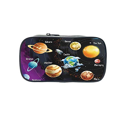Personal Tailor Pen Bag,Outer Space Decor,Solar System of Planets Milk Way Neptune Venus Mercury Sphere Horizontal Illustration,Multi,for Students,Comfortable Design by iPrint