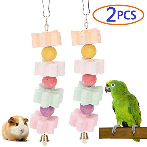Parrot Chewing Toy, Bird Beak Grinding Stone with Bell, Lava Block Calcium Supplement Food for African Greys Amazon Conure Eclectus Budgies Parakeet Cockatiel Hamster Chinchilla Rabbit, 2 Pack