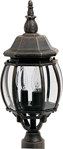 ill 3-Light Outdoor Pole/Post Lantern, Rust Patina Finish, Clear Glass, CA Incandescent Incandescent Bulb , 60W Max., Damp Safety Rating, Standard Dimmable, Frosted Glass Shade Material, Rated Lumens (3 Light Exterior Post Lantern)