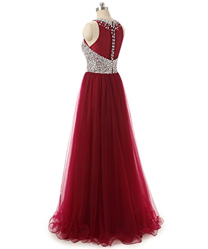 Women Red Beaded Prom Long Tulle Neck High Callmelady for Dresses qtxzf8R16