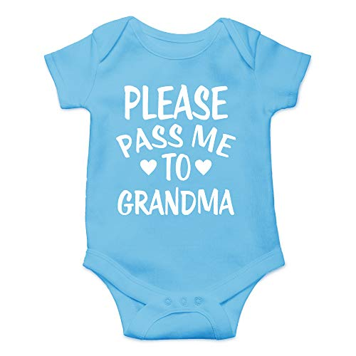CBTwear Please Pass Me to Grandma - My Grandmother Loves Me - Cute Infant One-Piece Baby Bodysuit (Newborn, Light Blue) -