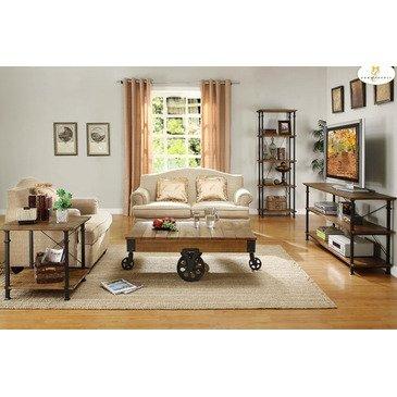 - Homelegance Factory 4 Piece Rectangular Coffee Table Set w/ Iron Base