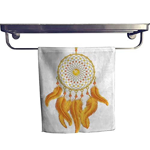 (HoBeauty home Cotton Beach Towel, Graphic of Golden Dreamcatcher Native Indigenous Cultural Style Art Print Orange WHI,Absorbent, Machine Washable, Towel W 12