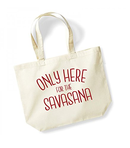 Only Here For The Savasana - Large Canvas Fun Slogan Tote Bag Natural/Red